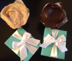 """Pretty Bitchin'"" and ""Chocolate DOOM ""cupcakes from baked and wired.  Oh and our little blue Tiffany boxes"